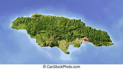 jamaika, beschattet, erleichterung karte