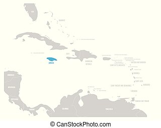 jamaika, blaues, markiert, in, der, landkarte, von, caribbean., vektor, abbildung