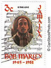 JAMAIKA - CIRCA 1981 : stamp printed in Jamaika with Bob Marley and notes of his song Is This Love, circa 1981