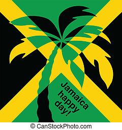 jamaika, glücklich, tag, gruß, card.