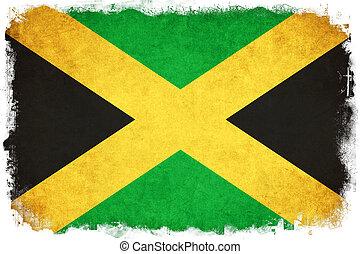 jamaika, grunge, fahne, abbildung, von, land