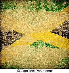 jamaika, grunge, fahne, hintergrund.
