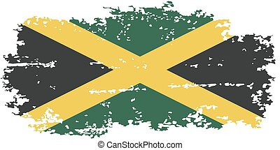 jamaika, grunge, flag., vektor, illustration.