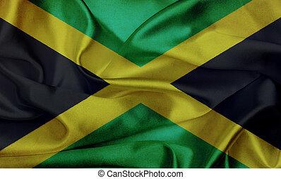 jamaika, grunge, winken markierung