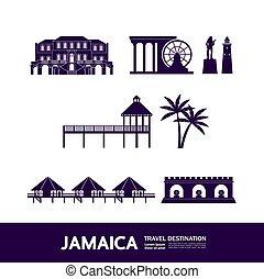 jamaika, illustration., spielraum- bestimmungsort, vektor,...