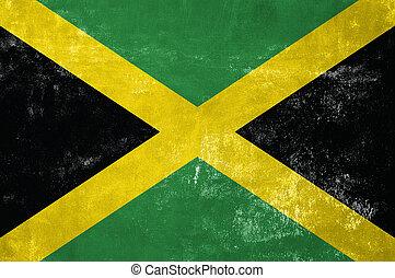 jamaika, -, jamaikanische markierungsfahne, auf, altes , grunge, beschaffenheit, hintergrund