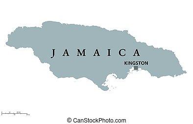 jamaika, politisch, landkarte