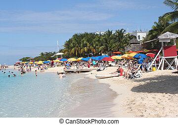 jamaika, sandstrand, höhle, bucht, doktors, montego