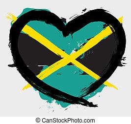 jamaikanisch, grunge, fahne