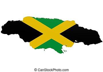 jamaikanische markierungsfahne, landkarte