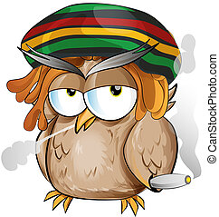 jamaiquino, búho, caricatura