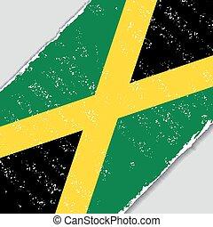 jamajczyk, wektor, grunge, illustration., flag.