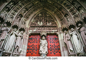 jamb, estatuas, entrada, de, dama notre, catedral, de,...