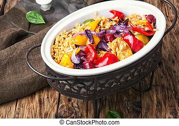 jambalaya in chafing dish - Creole dish based on...