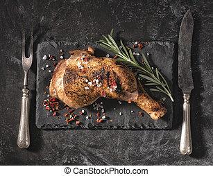 jambe, au-dessus, poulet rôti, rosemary., vue