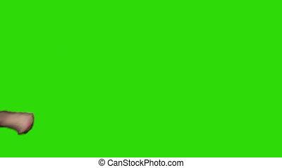 jambe, vert, homme, fond, vidéo, donner coup pied