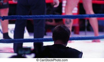jambes, anneau, boxeurs, vue, brouillé