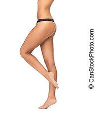 jambes, bikini, culotte, femelle noire