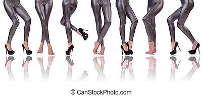 jambes, blanc, femme, isolé, fond