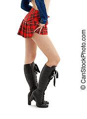 jambes, checkered, jupe, long