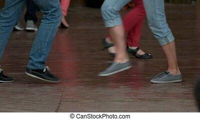 jambes, danse, partie., gens