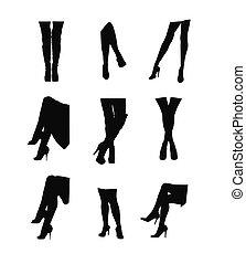 jambes, ensemble, silhouette, womans