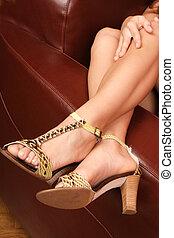 jambes, femme, joli