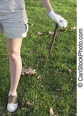 jambes, golfeur, dame