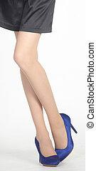 jambes, hig, courte jupe, femme