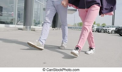 jambes, marche couples, woman., homme, ville, aimer