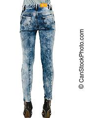 jambes, mode, mince, long, pantalon