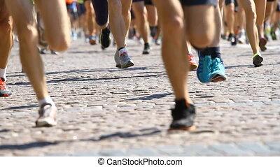 jambes, moitié, courant, marathon, athlètes