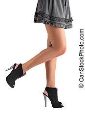 jambes, noir, chaussures, femme