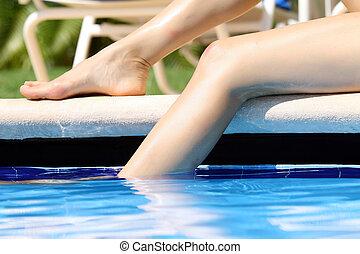 jambes, piscine, natation