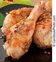 jambes, poulet, grillé