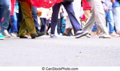 jambes, promenade, gens, beaucoup