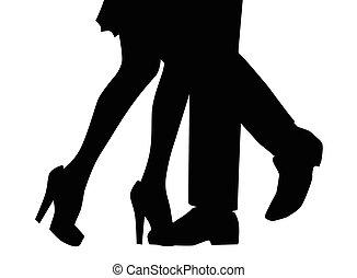 jambes, silhouette, danse