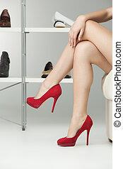 jambes, talons, long, rouges, élevé