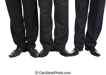 jambes, trois, hommes affaires