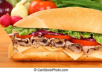 jambon, sandwich, tomate, grand