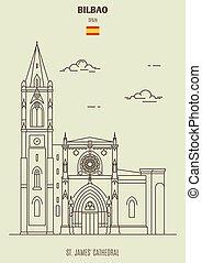 james', 大聖堂, spain., bilbao, ランドマーク, アイコン, st. 。