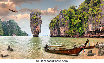james bond, eiland, phang, nga, thailand