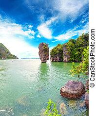 James Bond island Thailand travel destination. Phang Nga bay...