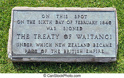 James Busby House, Waitangi, NZ - Sign showing the location ...