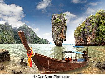 james, förbindelse, ö, phang, nga, thailand