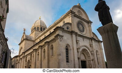 james, sibenik, cathédrale, défaillance, rue, croatie, temps...