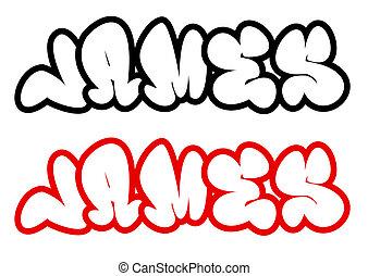 james, stil, graffiti, name