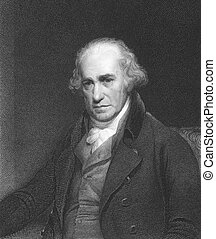 James Watt (1736-1819) on engraving from the 1850s. Scottish...