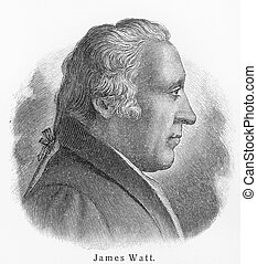 James Watt - Picture from Meyers Lexicon books written in German language. Collection of 21 volumes published between 1905 and 1909.