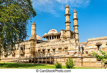 Jami Masjid, a major tourist attraction at Champaner-Pavagadh Archaeological Park - Gujarat, India